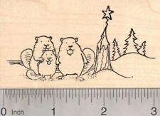 Happy Beaver Family with Christmas Tree Rubber Stamp K19402 WM