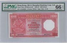 1985 Hong Kong HSBC $100 Dollars  Prefix AA Gem-Uncirculated PMG 66 Colony Logo