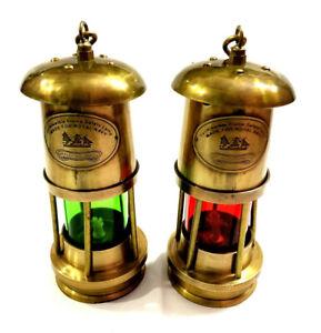 Set of 2 Antique Brass Minor Lamp Vintage Nautical Ship Boat Light Lantern Decor