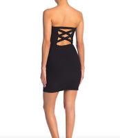 KENEDIK Women Size Large Strapless X Back Bodycon Dress Black Fitted Stretch NEW