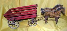 STUNNING VTG 1908 ANTIQUE GIBBS GRAY PACERS HORSE WAGON PULL TOY, WORKS WELL