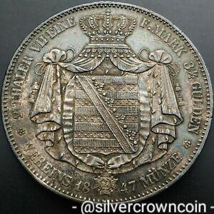 SCC Saxony-Albertine 2 Thaler 1847F. KM#1149. Silver Crown Dollar 3 1/2 Gulden.