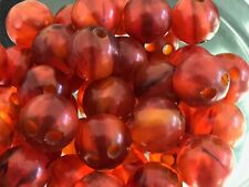 30 Bakelite 13mm Honey Amber Swirled Beads With Double Holes
