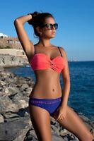 S 36 Bikini GABBIANO Evita Push-up Neon Orange Navy Blue set High Quality