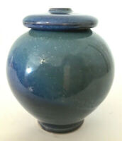 "Studio Pottery Covered Jar Shades of Blue w/ Speckles 4.75""H Signed Dalton EUC"