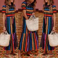 Women Boho Hippie Short Sleeve Shirt Dress Rainbow Loose Party Beach Sundress