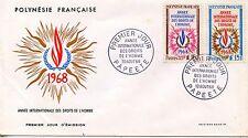 FDC / PREMIER JOUR POLYNESIE / TIMBRE N° 62/63 / DROIT DE L'HOMME PAPEETE 1968