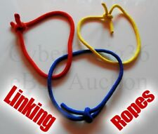 LINKING ROPE RINGS MAGIC TRICK TIED RED YELLOW BLUE LINK CORD HOOP PENETRATE NEW