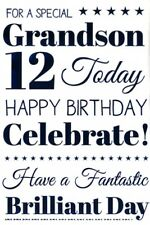 12th GRANDSON BIRTHDAY CARD AGE 12 ~ QUALITY CARD WITH LOVELY VERSE BY IC&G
