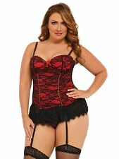Womens Plus Size Underwire Lace Overlay Bustier Lingerie and Stockings Set