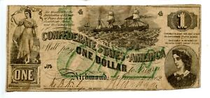 1862  $1  Confederate Currency T-45