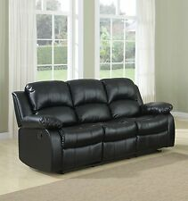 Classic Sofa 3-Seater Black Bonded Leather Recliner Chair