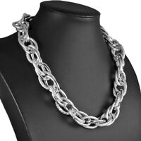 Silver colour oversized textured twisted rope chain choker necklace jewellery