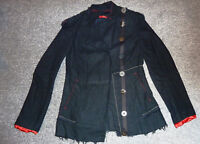 Quirky unusual Rare Punk Rave Goth Steampunk black cotton Jacket Cyber S