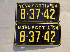 1964 Nova Scotia Canada Pair of Nice License Plates 8-37-42 ~FastFreeShip~