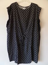 Old Navy Womens 4X Plus Rayon Tie Front Knee Length Dress Geo Pattern Black New