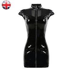 Women Black Wet Look Latex PVC Dress With Zip Party Clubwear Bodycon