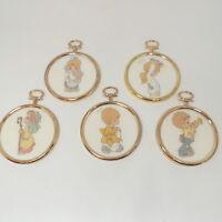 Set of 5 Vintage Precious Moments Needlepoint Ornaments Christmas Nativity