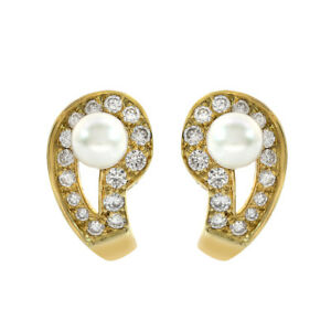 1.00 Carat Round Diamond and Pearl Huggy Earrings 14K Yellow Gold