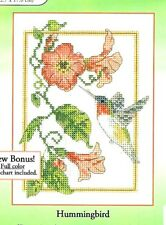 RUBY THROAT HUMMINGBIRD & RED BLOSSOMS CROSS STITCH KIT by CANDAMAR DESIGNS -