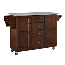 Eleanor Mahogany Kitchen Island With Stainless Steel Top