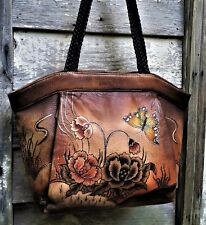Vtg BIACCI Brown Distressed HAND PAINTED Pebbled LEATHER Boho TOTE Shoulder Bag