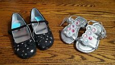 Toddler Girls 2 Pairs Black w Stars Mary Jane Shoe & Silver Sandal Size 7