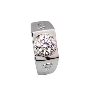 2 Carats Synthetic Diamond Men 925 Sterling Silver Wedding Ring Engagement