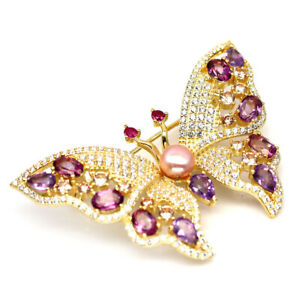 NATURAL PINK MYSTIC TOPAZ, AMETHYST, PEARL & CZ 925 SILVER BUTTERFLY BROOCH