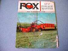 Fox SP-F Forage Master Self-Propelled Brochure from 1962