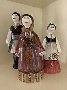 Set of Three Greek Ceramic Figures in Traditonal Dress Folk Art