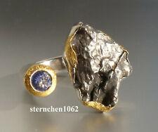 Einzelstück * Ring * 925 Silber * 24 ct Gold * Meteorit - Stein * Tansanit