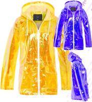 Womens Holographic Rain Mac Waterproof Raincoat Mustard Jacket Size 8 - 16