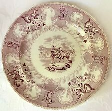 RARE ANTIQUE TEXIAN CAMPAIGNE PURPLE DINNER PLATE, TEXAS INDEPENDENCE, JB, BEECH
