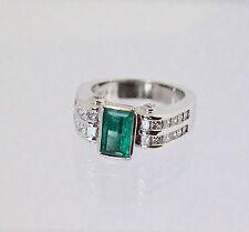 Stunning 18k W Gold 2.10ct Natural Emerald Diamonds Ring Fine Jewelry