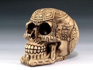 Skull Maya Tribal Tattoo  Figurine Statue Skeleton Halloween