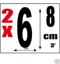lot 2 Chiffres [6] Sticker autocollant noir hauteur 8cm Lettre en vinyle