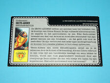 1988 GI JOE SECTO-VIPER v1 COBRA BUGG DRIVER UNCUT FILE CARD FILECARD NL DUTCH