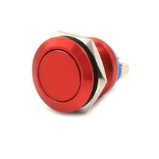1PC 19mm waterproof red momentary metal push button switch flat top switch