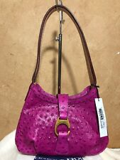 NWT $248 Dooney & Bourke Derby Shoulder Bag Ostrich Embossed Berry Pink