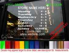 STORE HOURS operation Sign Decal Grocery Restaurant Cafe Deli Gym Bar Salon Shop