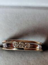 BAGUE  trilogie anneau  OR  2 tons 18 K  / 750 / Diamants