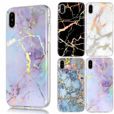 Plating Marble Pattern Soft Silicone TPU Bumper Case Cover For iPhone & Samsung