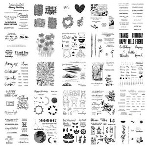 Flower Word Phrase Moon Silicone Clear Stamps Scrapbooking Crafts Decor Cards