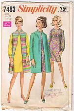Vintage 60s Dress Mandarin Collar Coat Vest Simplicity Sewing Pattern Size 14