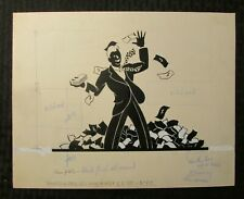 "GRADUATION Silouette Guy w/ Money 12x9.5"" Greeting Card Art #4945"