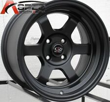 15X8 ROTA GRID-V WHEELS 4X100 FLAT BLACK RIMS +0 AGGRESSIVE FITS CIVIC CRX