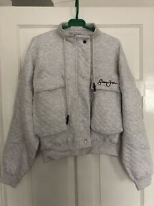 Womens Missguided Sean John Grey Quilted Crop Jumper/jacket Size 10
