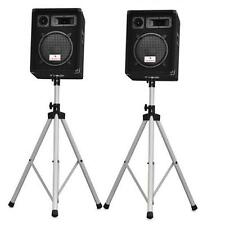 PAIR OF AUNA 10 INCH PASSIVE SPEAKERS AND TRIPOD STANDS 800W DISCO STAGE DJ SET
