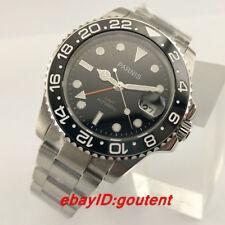 40mm Parnis Black Dial Sapphire Ceramic Bezel GMT Automatic Mens Wristwatch